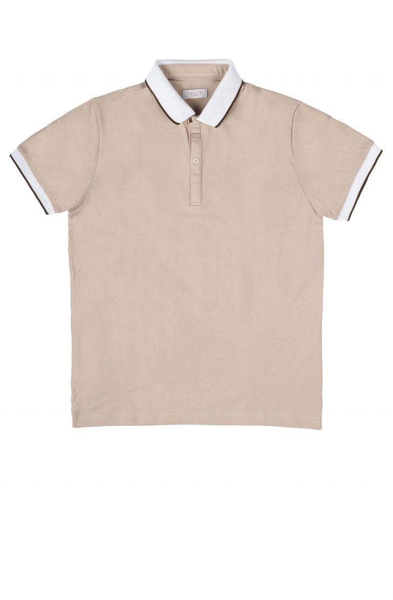 Plain Beige Polo Art Pistagna