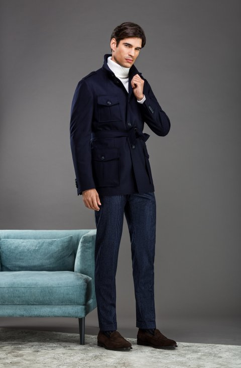 Plain Blue Overcoat 180.Allen.1011