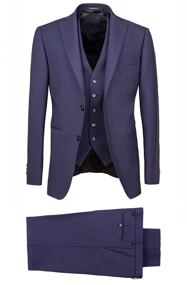 3 piece blue suit slim fit