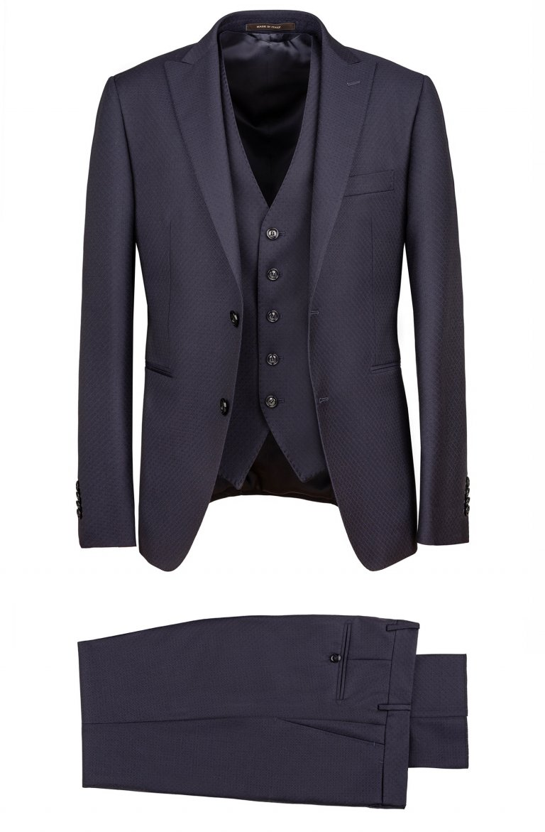 3 piece blue jacquard suit slim fit