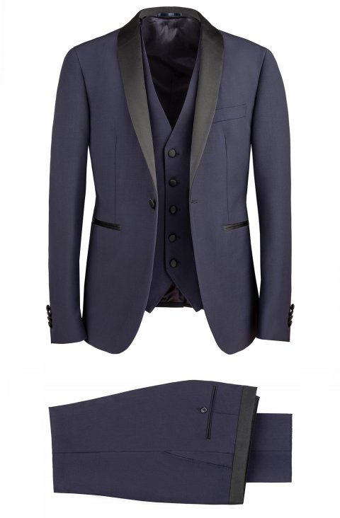 3 piece blue tuxedo slim fit