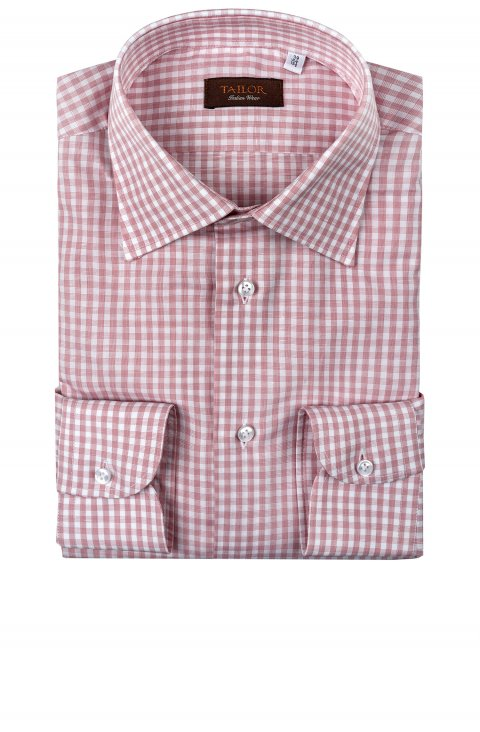 check pink cotton shirt in slim fit by Tailor Italian Wear