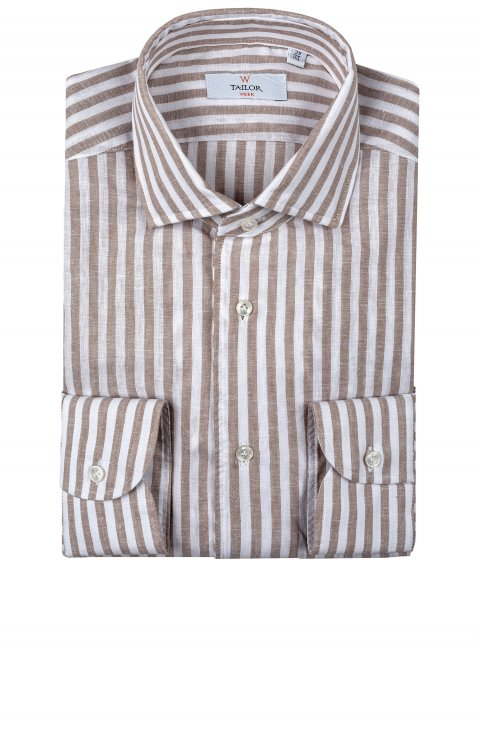 stripe beige linen shirt in slim fit by Tailor Italian Wear