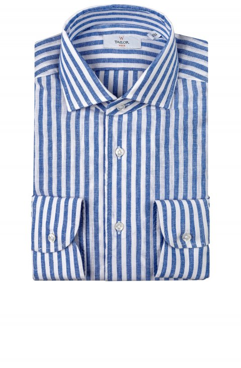 blue stripe linen shirt in slim fit by Tailor Italian Wear