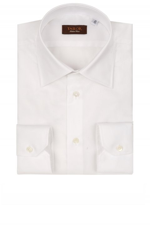 WHITE COTTON SHIRT WITH FRENCH COLLAR IN SLIM FIT