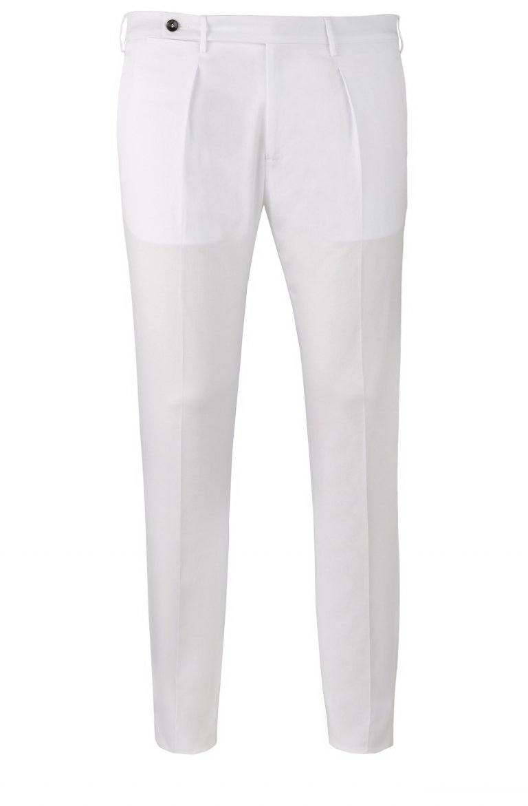WHITE PLEATED COTTON STRETCH TROUSERS IN SLIM FIT BY TAILOR ITALIAN WEAR
