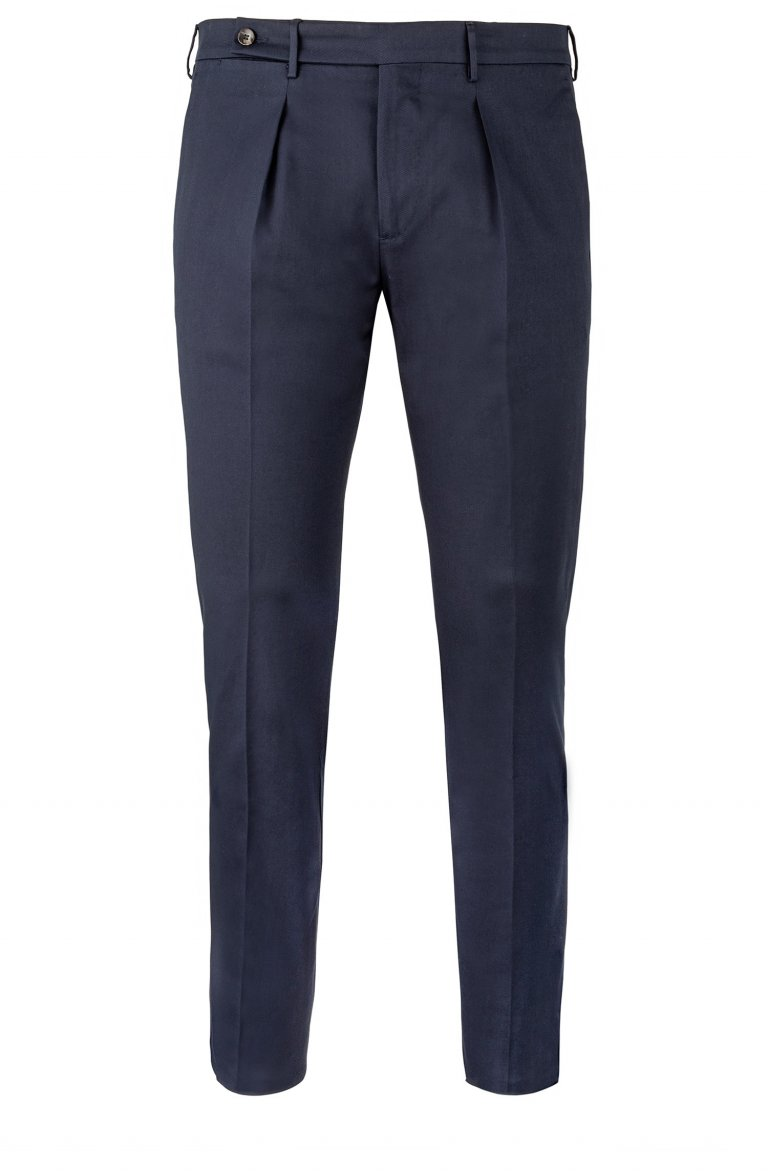 BLUE PLEATED COTTON STRETCH TROUSERS IN SLIM FIT BY TAILOR ITALIAN WEAR