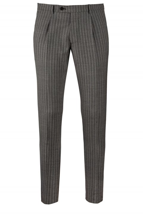 STRIPE GREY WOOL TROUSERS IN SLIM FIT BY TAILOR ITALIAN WEAR