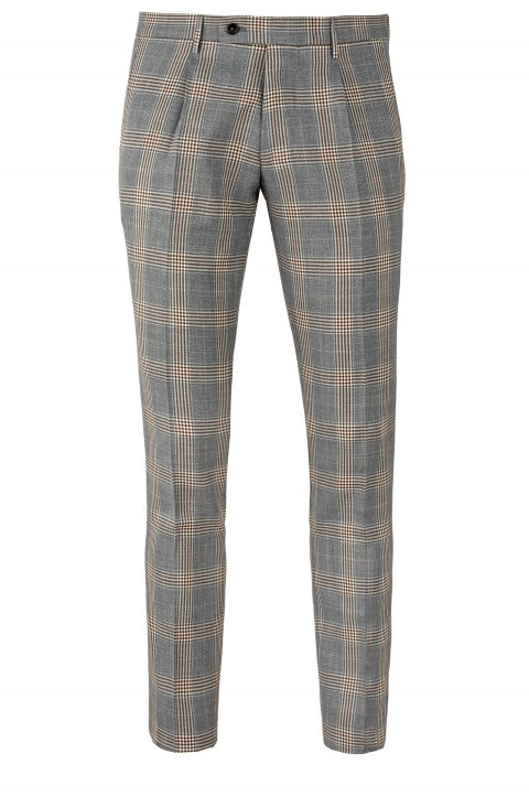 CHECK GREY WOOL & SILK PLEATED TROUSERS IN SLIM FIT BY TAILOR ITALIAN WEAR