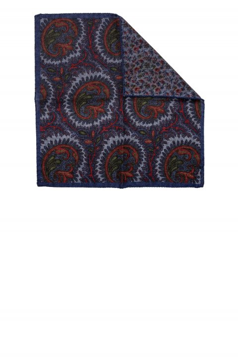 Print Blue Pocket Square Sppbic.1.Blu