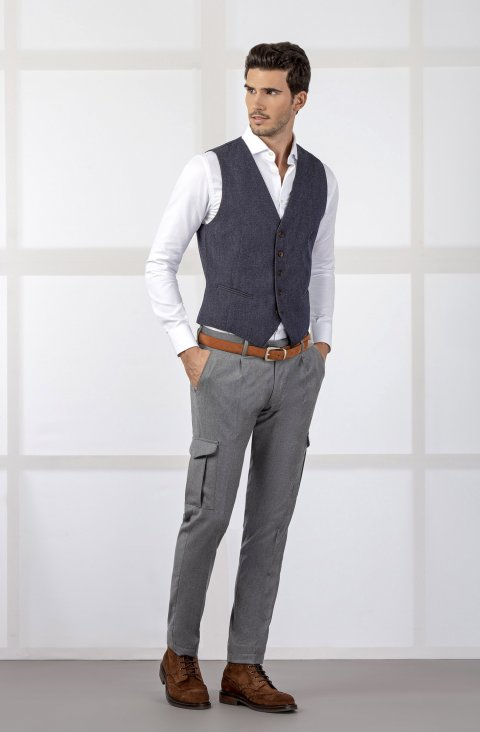 Plain Grey Trousers Pmcargo702.1.2