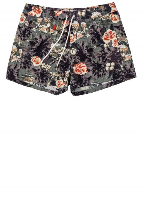 grey swimwear shorts with red pattern TAILOR Italian Wear