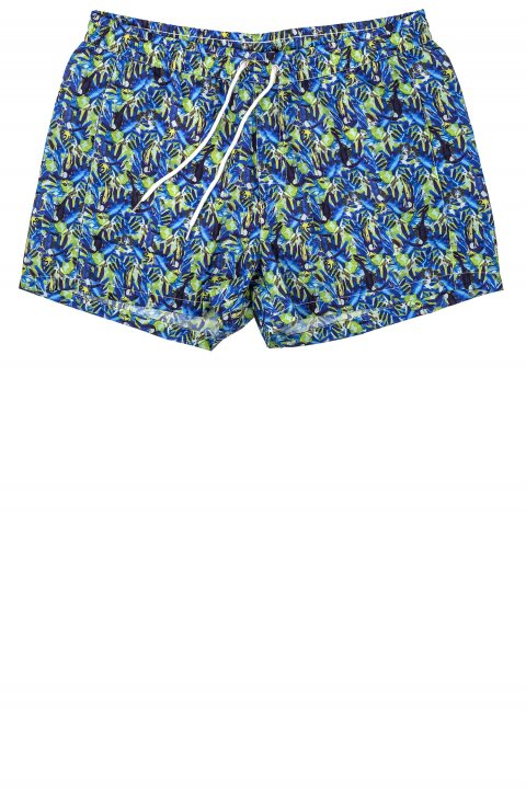 blue swimwear shorts with yellow pattern