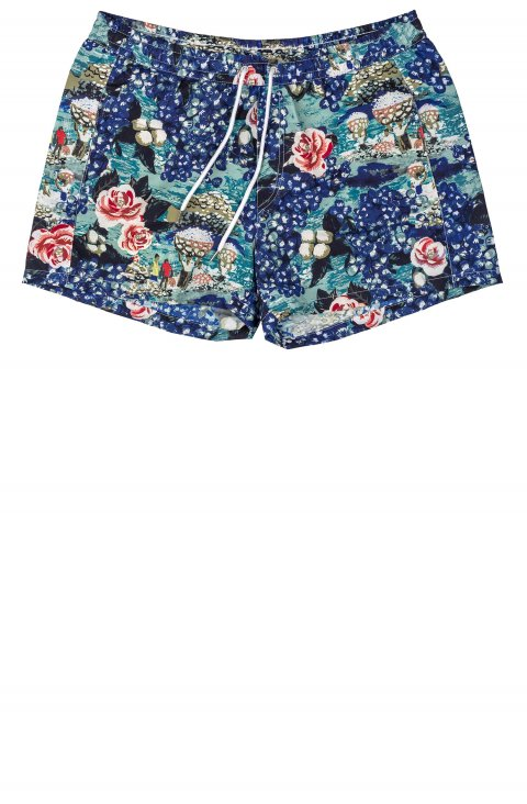 blue swimwear shorts with blue and red flowers