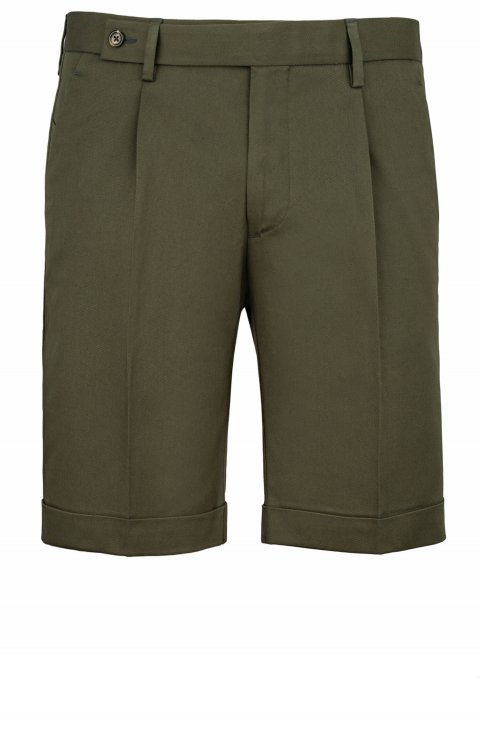 Green cotton shorts TAILOR front view