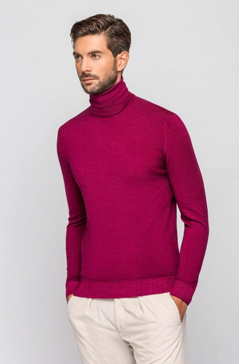 Burgundy Turtleneck Knitted Sweater Magcicli.Aci.Magenta