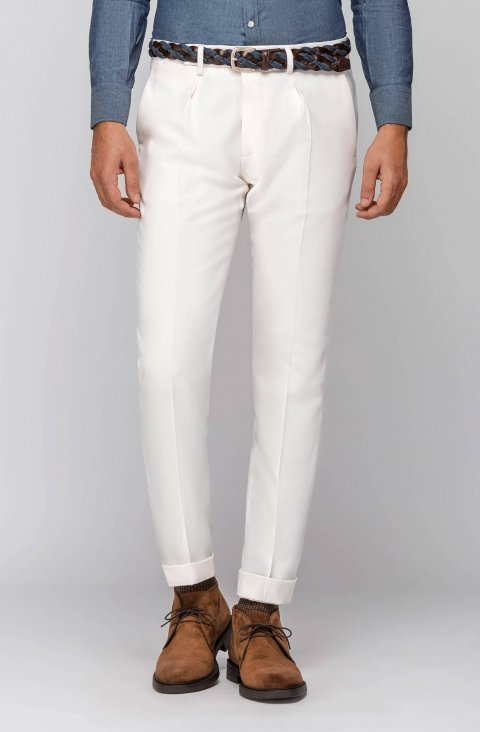 Plain White Trousers Pmil703.1.1