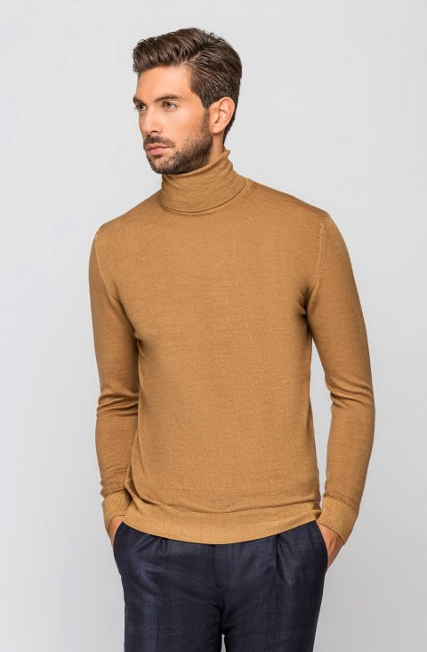 Camel Turtleneck Knitted Sweater Magciclidv.Aci.Camello