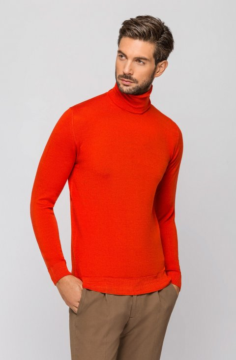 Coral Turtleneck Knitted Sweater Magcicli.Aci.Corallo