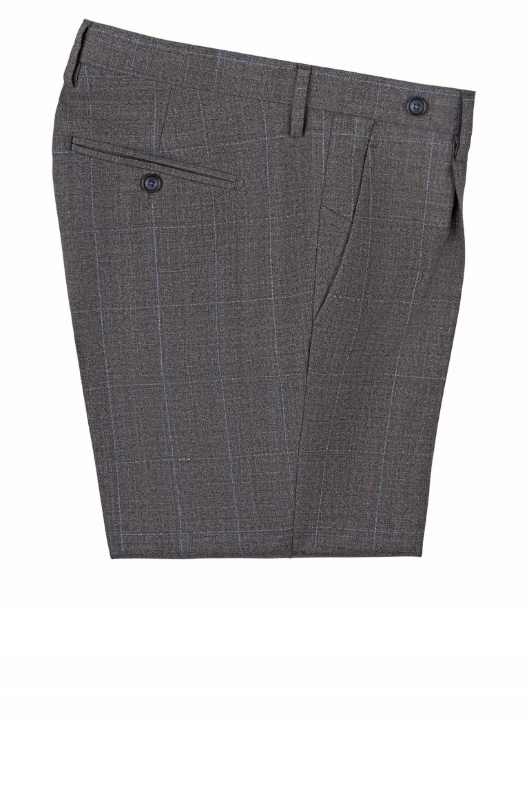 Men's Check Grey Trousers Silvparb5.67.2