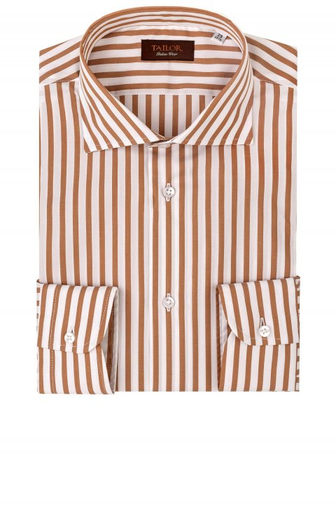 Men's Stripe Brown Shirt Cfiabyog.249.5